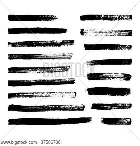 Black Grunge Brush Strokes. Set Of Seventeen Painted Ink Stripes. Ink Spot Isolated On White Backgro