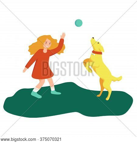 Girl Is Playing With Dog. Doggy Is Jumping With Ball. Colorful Bright Vector Illustration On A White