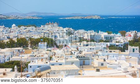 Panoramic view of Mykonos town on the sea shore, Greece. Greek scenery