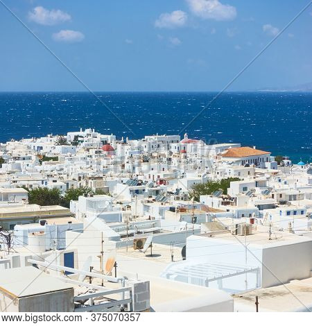 Rooftops of Mykonos town on the cost of the sea, Greece. Greek scenery