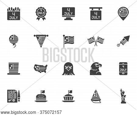 Independence Day Vector Icons Set, Modern Solid Symbol Collection, Filled Style Pictogram Pack. Sign