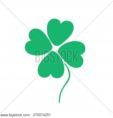 Four-leaf Clover In The Doodle Style Isolated On A White Background. A Symbol That Brings Happiness