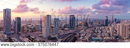 Tel Aviv Skyline At Sunset,  Tel Aviv Cityscape Aerial View At Sunset, Israel