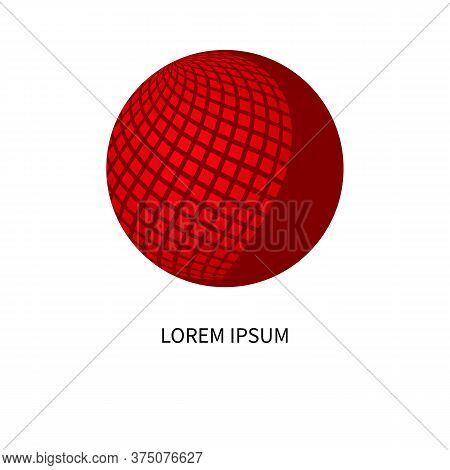 Communication Logo, Networking Icon With Red Sphere, Business Logo, Telecommunications Symbol