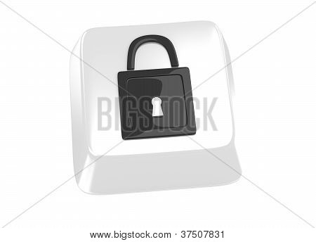 Lock Icon In Black On White Computer Key