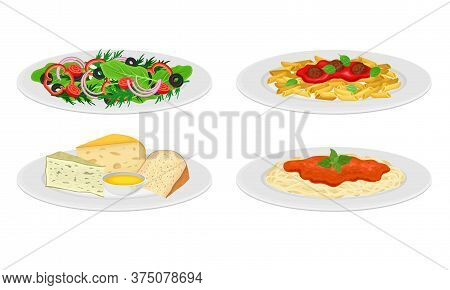Italian Dishes With Cheese Slabs And Pasta With Tomato Sauce Served On Plates Side View Vector Set