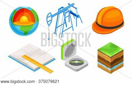 Geology Measurement Instruments With Soil Cross Section Vector Set