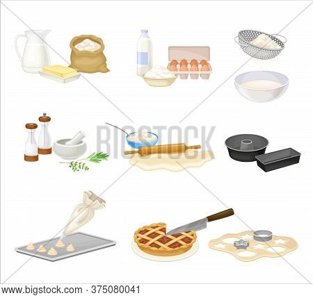 Baking Process With Doughing And Mixing Ingredients With Cookware Vector Set