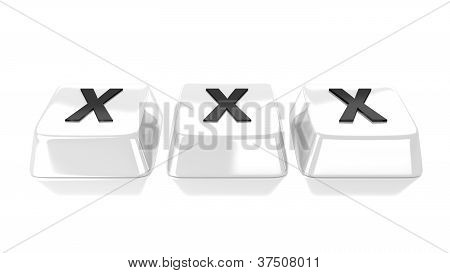 Xxx Written In Black On White Computer Keys.