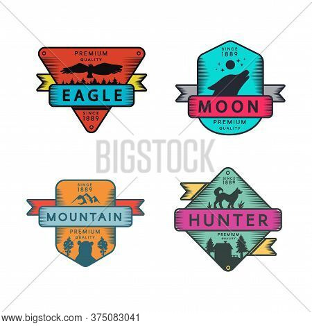 Eagle And Mountain, Moon And Hunter Badges Set