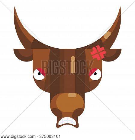 Angry Bull Face Emoji, Mad Comic Cow Icon Isolated Emotion Sign