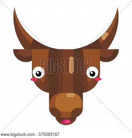 Shy Bull Face Emoji, Blushed Smiling Cow Icon Isolated Emotion Sign