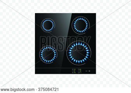 Realistic Gas Cooker.vector Object Isolated On Transparent Background