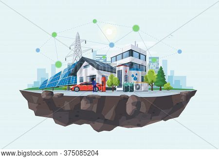 Smart Renewable Energy Power Grid System. Off-grid Household City Battery Storage Sustainable Island