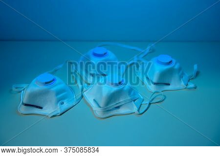 Respitatots N95 Are Sterilized Under Ultraviolet Light. Uv Sterilization Of Protective Masks In Hosp