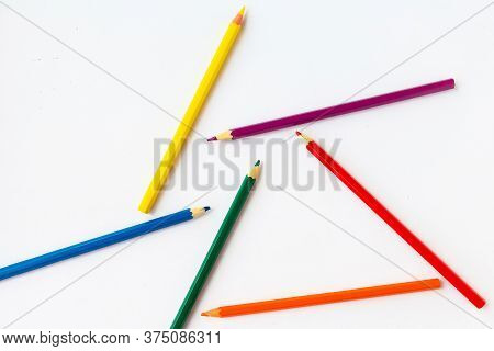 Color Pencils In Lgbtq Colors On White Background, Top View