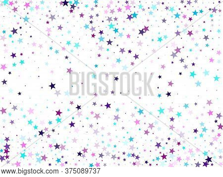 Flying Stars Confetti Holiday Vector In Cyan Blue Violet On White. Geometric Starlight Banner. Trend