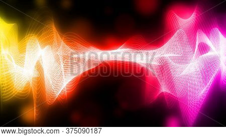 Yellow And Purple Wave On A Dark Background. Colorful Shining Wave On A Black Background. Abstract W