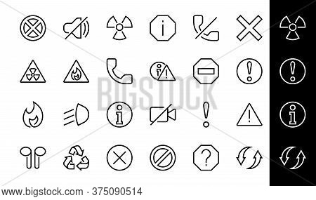 Warnings Simple Set Of Thin Line Vector Icons. Contains Icons Such As Warning, Exclamation Mark, Reu