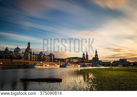 View Of The Oldtown Of Dresden From The Neustädter Elbufer, With Some Of Its Main Buildings To Be Re