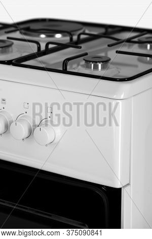 Part Of A Modern Gas Stove, White