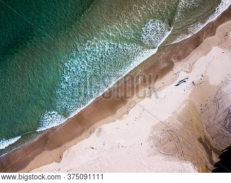 Aerial View Of A Paradise Beach In Galicia, Spain.