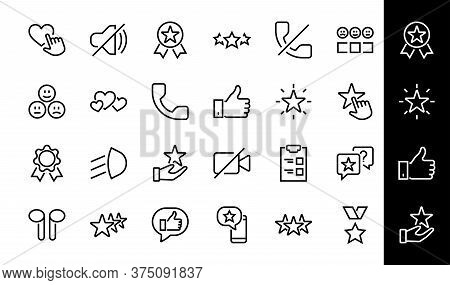 Simple Set Feedback, Reviews Thin Line Icons. Evaluation, Review, Star, Like And Much More, Editable
