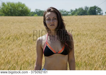 Sexy Girl In Field With Windy Hair. Sunny Hot Weather. Summer Vacation And Rest. Woman In Swimsuit R