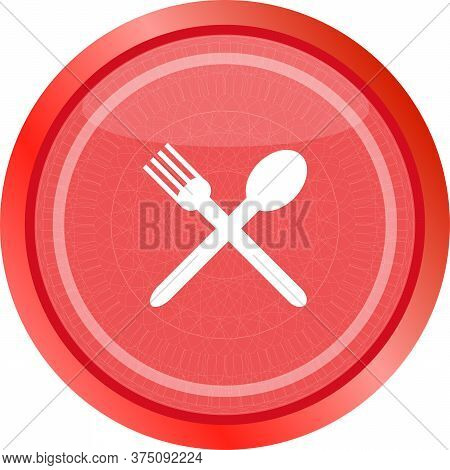 Web Buttons Food Icon. Spoon And Fork Restaurant Banner. Spoon Icon, Fork Icon. Red Flat Icon And Wh