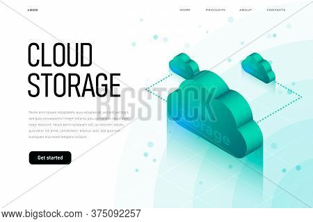 It Sphere Related Isometric Illustration With 3d Cloud. Cloud Storage Landing Page Template With Iso