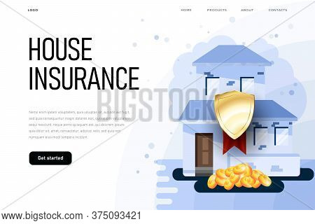 House Insurance Illustration Concept With Protection Shield And 3d Coins. Insurance Illustration On