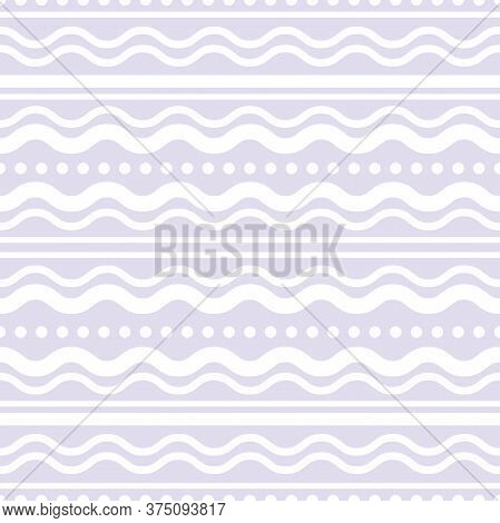 Wavy Purple And Blue Wavy Lines And Dots. Seamless Texture With White Rolling Ornament