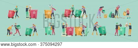 People And Children Recycle Sort Organic Garbage In Different Container For Separation To Reduce Env