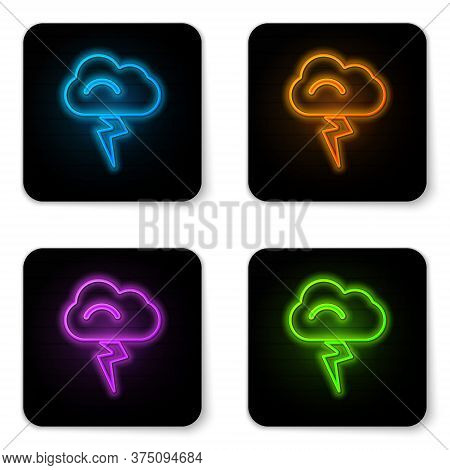 Glowing Neon Storm Icon Isolated On White Background. Cloud And Lightning Sign. Weather Icon Of Stor