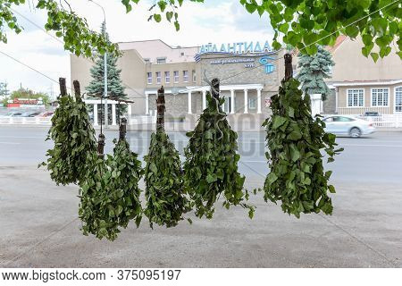 Chelyabinsk Russia July 6 2020 Street Trade In Steam Room Brooms In A Russian Bath