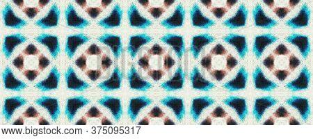 Original Tile Template.  Watercolor Majolica Tile. Gentle Chintz Motifs. Sky Blue Seamless Folk Embr
