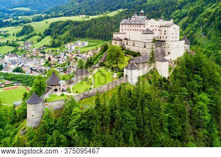 Hohenwerfen Castle Or Festung Hohenwerfen Aerial Panoramic View. Hohenwerfen Is A Medieval Rock Cast