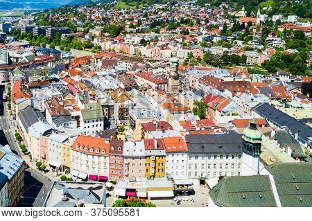 Innsbruck City Centre Aerial Panoramic View. Innsbruck Is The Capital City Of Tyrol In Western Austr