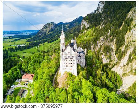 Schloss Neuschwanstein Or New Swanstone Castle Aerial Panoramic View. Neuschwanstein Castle Is A Rom