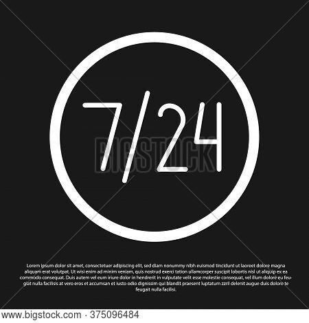 Black Clock 24 Hours Icon Isolated On Black Background. All Day Cyclic Icon. 24 Hours Service Symbol