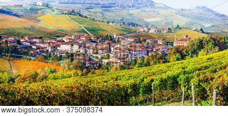 Golden vineyards and picturesque village Barolo of Piedmont. famous wine region of northern Italy
