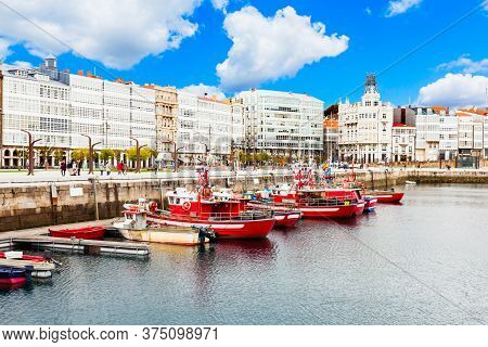 Yachts And Boats At The A Coruna City Port In Galicia, Spain