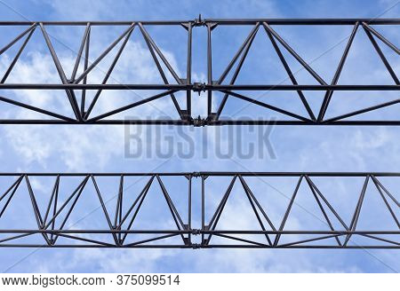 Fragment Of Temporary Metal Structure For Placing Advertising Outdoor Sign, Posters And Boards Again