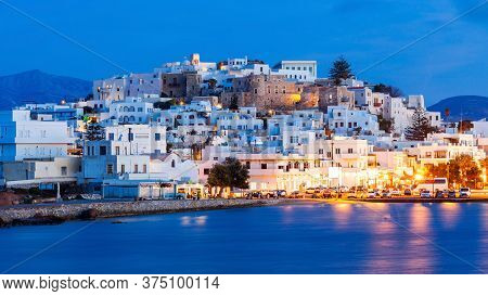 Naxos Island Aerial Panoramic View At Night. Naxos Is The Largest Of The Cyclades Island Group In Th