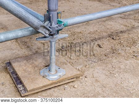 Fastening With Screw Prop For To Connect Elements Temporary Metal Structure. Construction Site. Smal