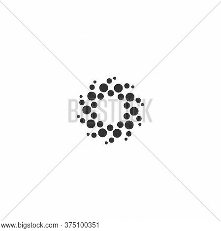 Black Energy Round Logo Isolated On White. Circles And Dotes Abstract Shape.
