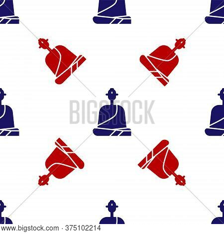 Blue And Red Buddhist Monk In Robes Sitting In Meditation Icon Isolated Seamless Pattern On White Ba