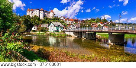 Beautiful romantic medieval castles of Europe - Zuzemberk in Slovenia in Krka river