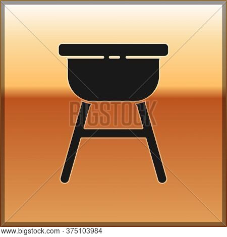 Black Barbecue Grill Icon Isolated On Gold Background. Bbq Grill Party. Vector Illustration