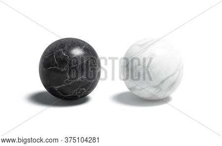 Blank Marble Black And White Ball Mockup Set, 3d Rendering. Empty Marmoreal Or Onyx Geometry Figure